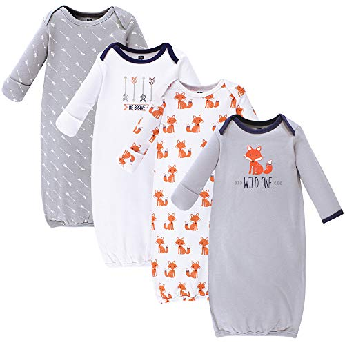 Hudson Baby Unisex Baby Cotton Gowns, Wild One 4-Pack, 0-6 Months