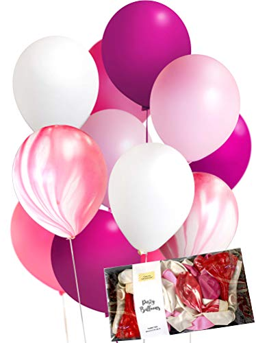 Fuchsia Pink Agate Mix Party Balloon Decoration (0.11oz Thick 12