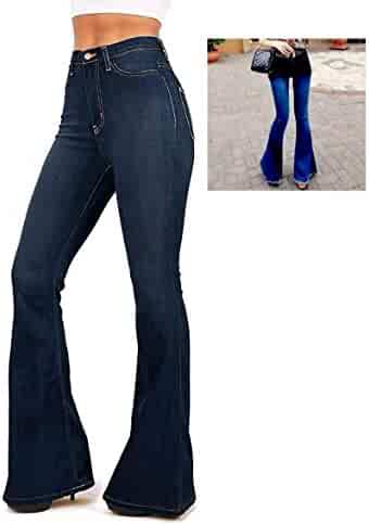 7fc5426dd22 WAX   Jack David JEANS Womens Juniors 70s Trendy Slim Fit Flared Bell  Bottom Denim Jean