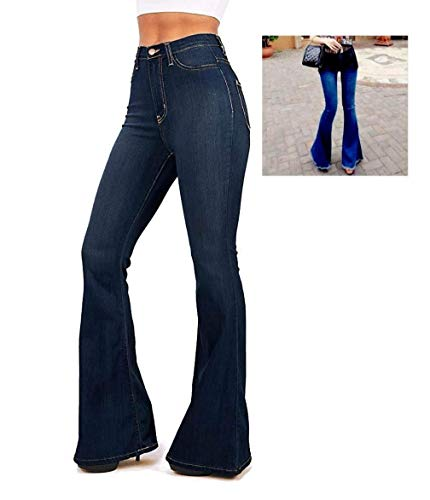 Wax / Jack David Jean Womens Juniors 70s Trendy Slim Fit Flared Bell Bottom Denim Jeans Pants (Jack David Hi Waist Dark Blue N678hw, -
