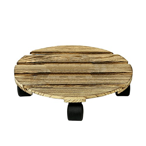 11.5 inch Rustic Slatted Wood Planter Rolling Caddy w/ Rotating Casters, Flower Pots Stand by MyGift