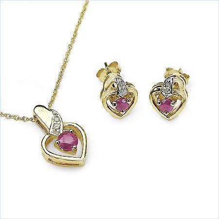 Bijoux Schmidt-Diamond / ruby pendentif, collier, boucles d'oreilles en métal argenté