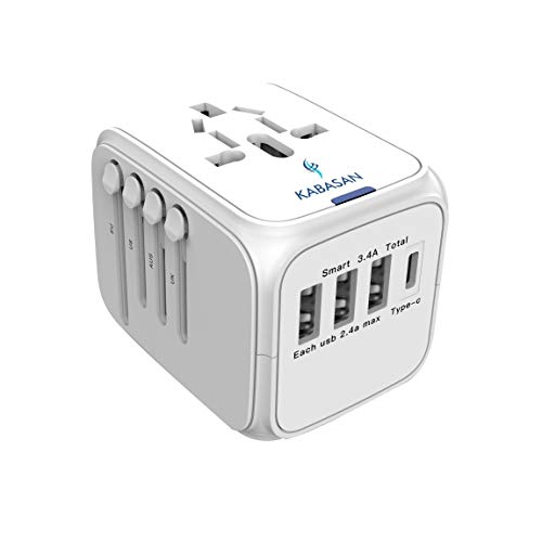 International Power Adapter Type C - Universal All in One Worldwide Travel Adapter, International Wall Charger, Power Plug Adapter with 4 USB Charging Ports for US, EU, UK, AUS