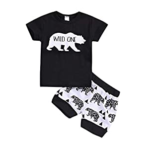Bebogo Infant Boys Shorts Set Toddler Wild Bear Stripes Tops Shorts Summer Clothes