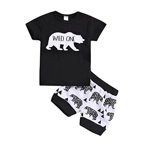 Birthday Boy Bear - Baby Girls Boys Summer Clothes Newborn Boys Short Sleeve Wild One T-Shirt Top+Bear Printing Short Pants Outfit Set (Baby Wild One Pant Set, 12-18 Months)