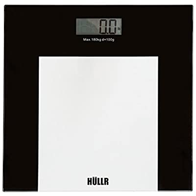 HULLR Precision Digital Fitness Body Weight Scale - Step On Technology, 400 lb, Tempered Glass, Elegant Black and Clear Finish