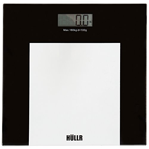 HULLR Precision Digital Fitness Body Weight Scale - Step On Technology, 400 lb, Tempered Glass, Elegant Balck and Clear Finish