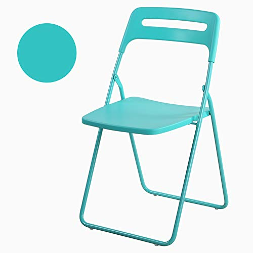 Tiffany Metal Workstation - Metal Folding Chair, Metal Frame with Handle Premium Curved Triple Braced with Molded Seat & Back Home Office Party Use-Tiffany Blue