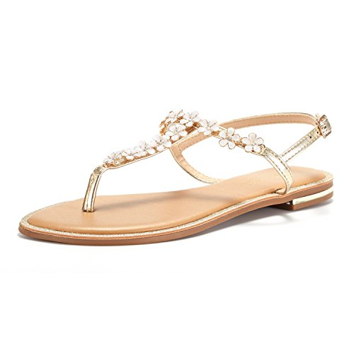 DREAM PAIRS Women's Gold T-Strap Flat Sandals Size 6 M US
