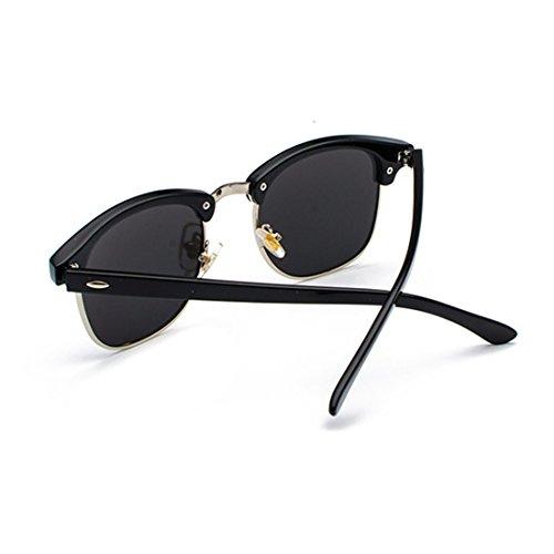 marco Gafas de Medio hombres lentes polarizados Blanco retro UV400 sol Huicai Plateado y Mujeres Bxw10qCU