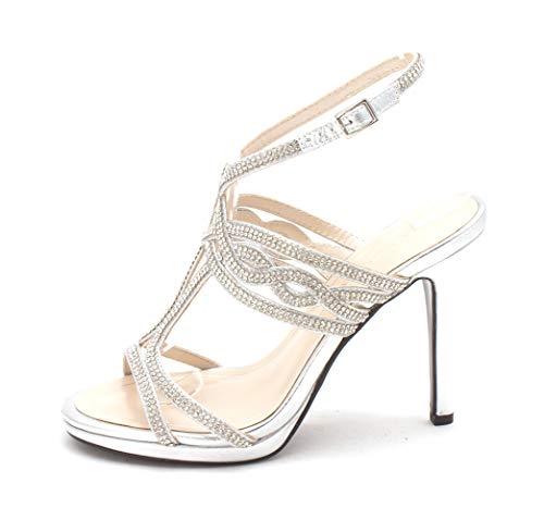 (Caparros Womens Heather Open Toe Bridal Slingback, Silver Metallic, Size 5.5)