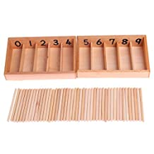 Arich Montessori Wooden Spindle Box 45 Spindles Mathematics Counting Educational Toy