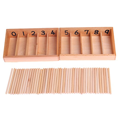Seaskyer Montessori Wooden Spindle Box 45 Spindles Mathematics Counting Educational Toy