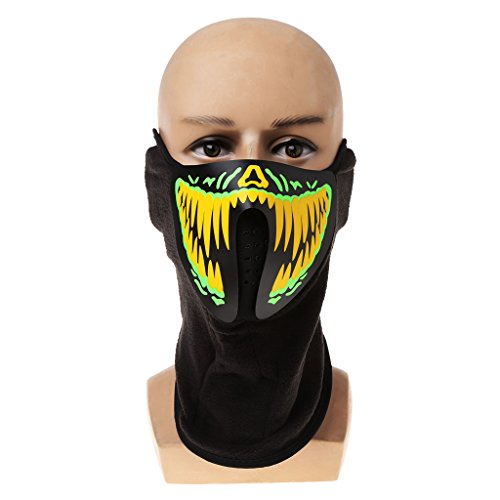 Seaskyer Led Mask Luminous Skull Mask Maske Masque Horreur Halloween Decoration Craft Supplies (#1) -