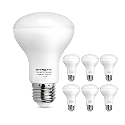 SHINE HAI BR20 LED Light Bulbs, 6W (50W Replacement), Non-dimmable 3000K Soft White, Indoor Flood Light Bulbs E26 Medium Base, 6-Pack