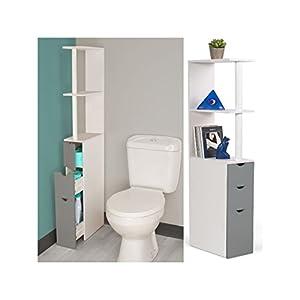 idmarket meuble wc tag re bois blanc et gris gain de place pour toilettes 3 portes pratique