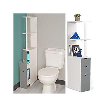 idmarket meuble wc tagre bois blanc et gris gain de place pour toilettes 3 portes
