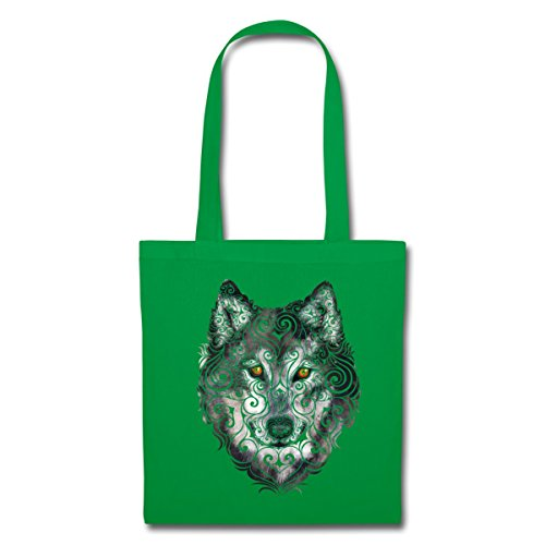 Spreadshirt Wolf Tribal Stoffbeutel Kelly Green 6yDwYqM2Zu