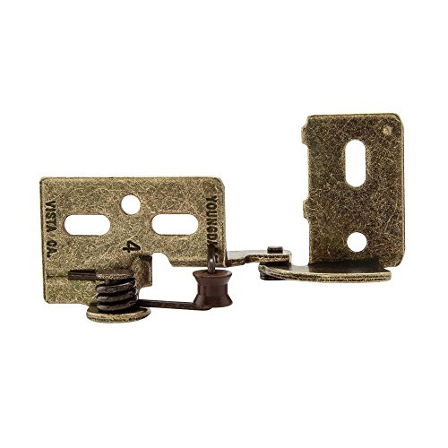Snap Closing Semi-Concealed Hinges - Antique brass (pair) - 3/8 overlay (Concealed Semi)