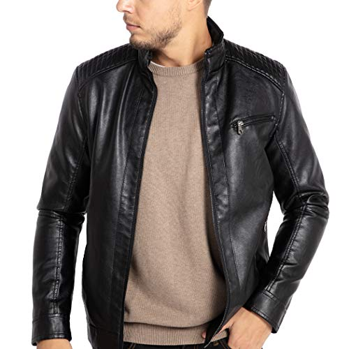- WULFUL Men's Stand Collar Leather Jacket Motorcycle Lightweight Faux Leather Outwear