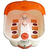 Gadgetbucket Foot Spa Bath And Roller Massager For Feet Pain Relieve And Care (White And Orange)