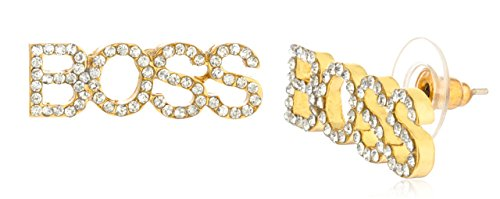 [2 Pairs of Metallic Goldtone with Clear Iced Out Boss Stud Earrings (R-2922)] (Courtney Love Costume)