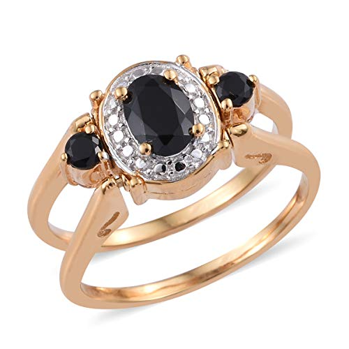 Shop LC Delivering Joy ION Plated 18K Yellow Gold Black Spinel White Topaz Statement Ring for Women Size 10 Ct 4.2