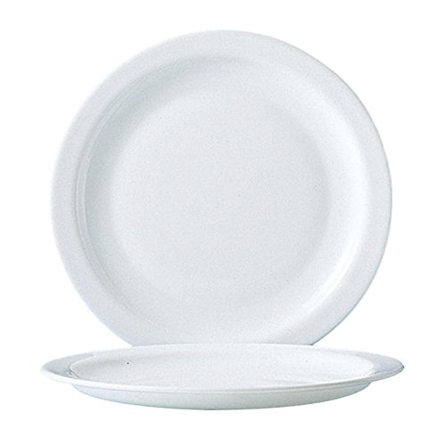 Arcoroc® Restaurant White Lunch Plate Narrow Rim 9 1/4'' by Cardinal International