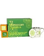 T2 Tea T2 Tea - Tea and Teaware Gift Set, Moroccan Classics: Green Spirited, Green Rose & Japanese GMC Sencha,