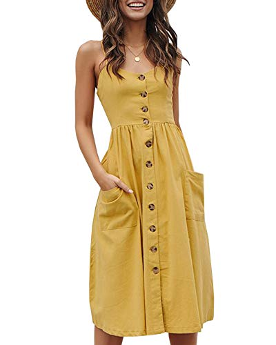 Imysty Womens Summer Spaghetti Strap Button Down Striped Swing Dress with Pockets (Small, T-Yellow)