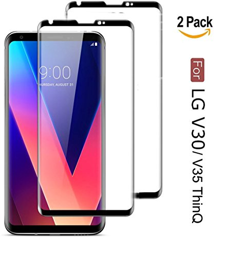 LG V30 Screen Protector,LG V35 Screen Protector,Full Cover [2 Pack] Tempered Glass Screen Protector with ABS Curved Edge Frame, Anti-Fingerprint HD Screen Protector Film for LG V30/V35 ThinQ (Black)
