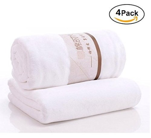 LingRui Bath Towel lightweight and not lint, fluffy Soft & Absorbent 26X58 inch 4 Pack (White)