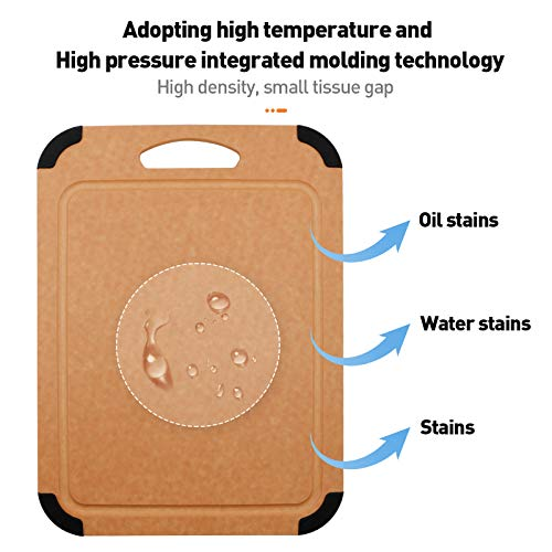 Houselog Non-Slip Wood Fiber Cutting Board High Temperature Resistance Chopping Board with Water Groove for Kitchen (C Style, Small)