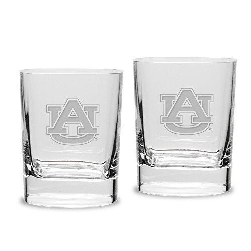 A Auburn Tigers Adult Set of 2-14 oz Square Double Old Fashion Glasses Deep Etched Engraved, One Size, Clear ()