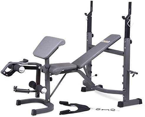 Body Champ Olympic Weight Bench with Preacher Curl, Leg Developer and Crunch Handle, Dark Gray Black BCB5860