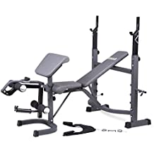 Body Champ BCB5860 Black Friday Fitness Cyber Monday PROMO! / Olympic Weight Bench with Preacher Curl, Leg Developer and Crunch Handle, Dark Gray/Black
