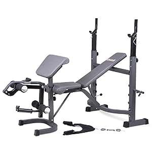 Body Champ BCB5860 Olympic Weight Bench with Preacher Curl, Leg Developer and Crunch Handle, Dark Gray/Black