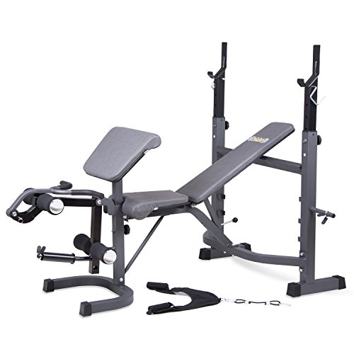 Black Friday Fitness Cyber Monday PROMO! / Body Champ Olympic Weight Bench with Preacher Curl, Leg Developer and Crunch Handle, Dark Gray/Black