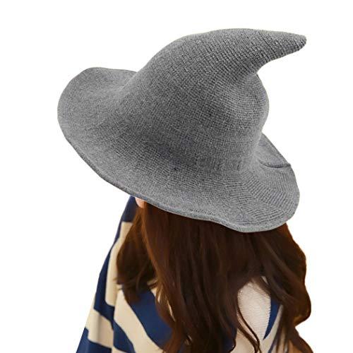e544fac50 MIOIM Women Girls Modern Witch Hat Halloween Witch Hat Wide-Brimmed Hat Cap  (Light Grey)