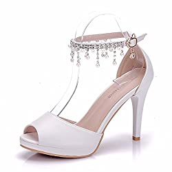 Women White Pearls Peep Toe High Heels