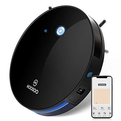 MOOSOO Robot Vacuum, 1800PA Robotic Vacuum Cleaner, Works with Alexa, Wi-Fi Connected, App Control, SmartNavigation, Self-Charging, Multi-Modes Vacuum for Pet Hairs, Hard Floors & Medium-Pile Carpet