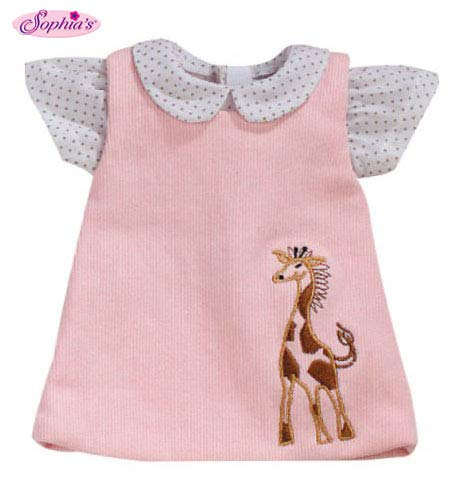 Sophia's 15 Inch Baby Doll Pink Jumper with Giraffe Detail & White Polka Dot Blouse, Fits 15 Inch American Girl Bitty Baby Dolls & More! Darling Baby Doll Clothing of Giraffe Jumper & Blouse