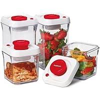 Cuisinart CFS-TC-S8R 8-Piece Set Fresh Edge Patented Vacuum-Seal Food Storage System, Red