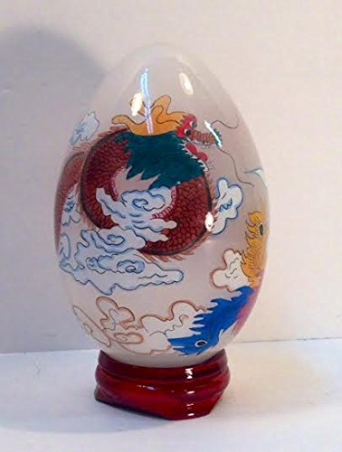 Large Hand Painted Glass Egg with Dragon & Phoenix (Chinese Painted Egg)