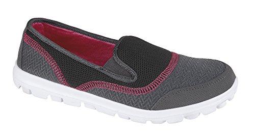 Air Tech Mujeres Trainer Slip On Pumps zapato Tiempo Libre Guantes Tamaño Grau / Fushia