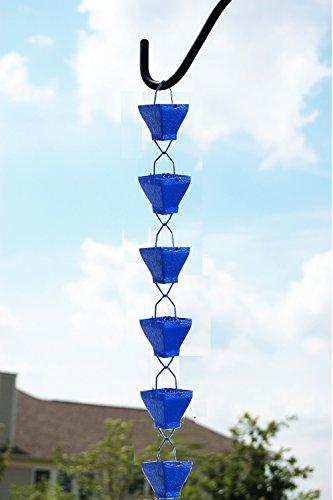 U-nitt 8-1/2 feet Rain Chain: Aluminum Square Cup Blue Embossed 8.5 ft Length #5517BLU by U-nitt (Image #1)