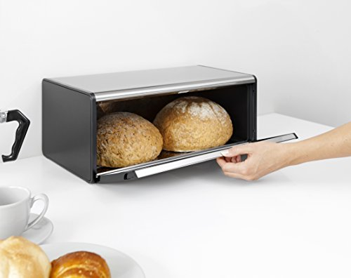 Brabantia Fall Front Bread Box - Brilliant Steel with Black Sides, 163463
