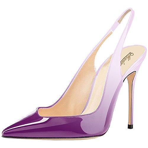 Violet Womens Dress Heels Shoes (Modemoven Women's Violet White Patent Leather Pumps,Point toe Heels,Slingback Pumps,Evening Shoes,Cute Stilettos - 5 M US)