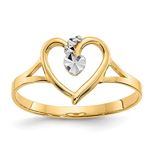 14K Yellow Gold and Rhodium Plated Cut-Out Heart Ring 14k Yellow Gold Rhodium Plated