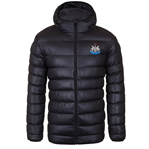 Newcastle United FC Official Soccer Gift Mens Quilted Hooded Winter Jacket Med